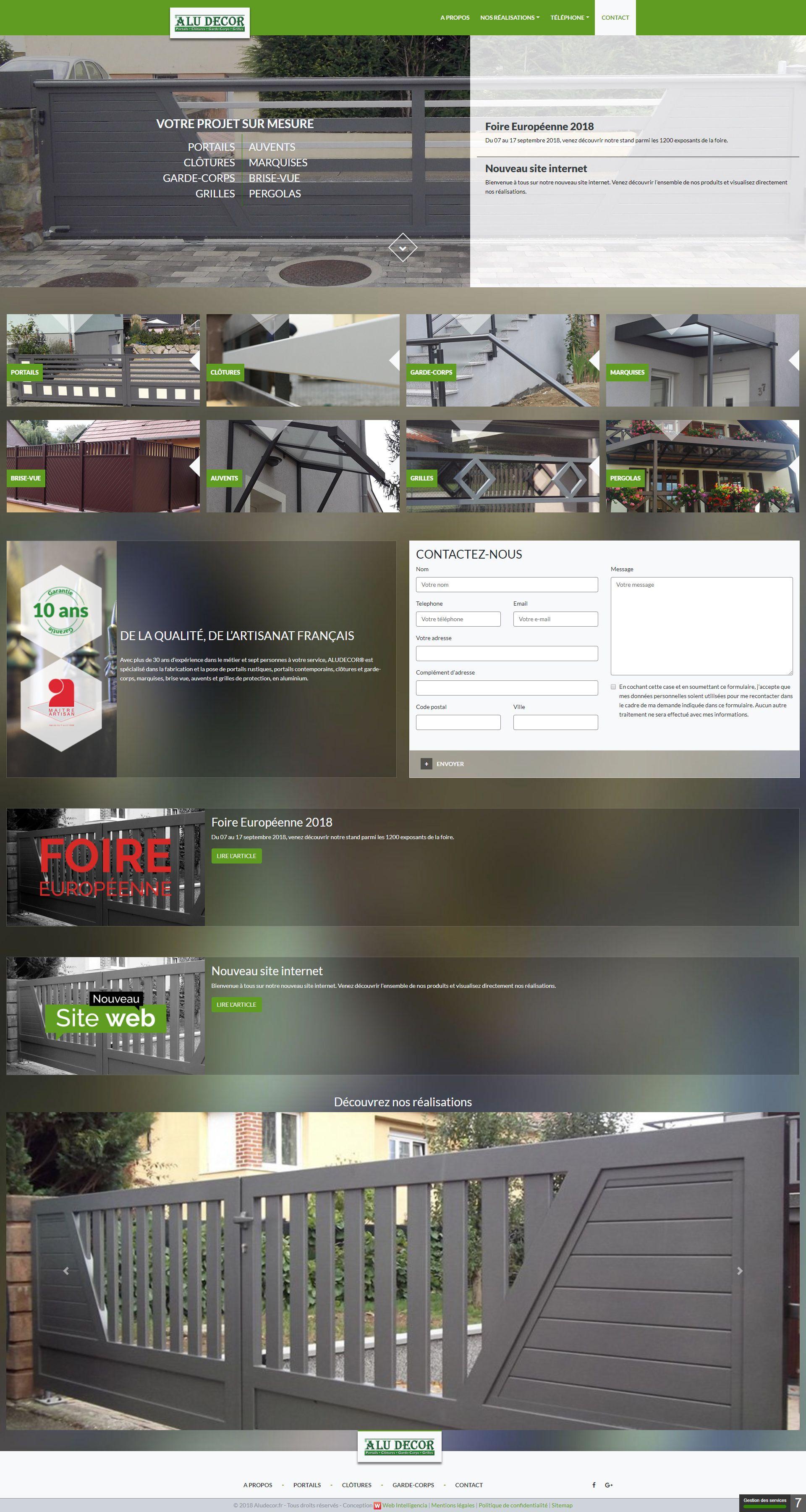 Page d'accueil AluDécor